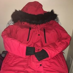 A.N.A Women's Red and Black Winter Coat
